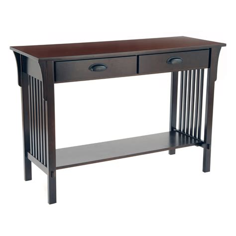 espresso sofa table wholesale bulk dropshipper mission sofa console table