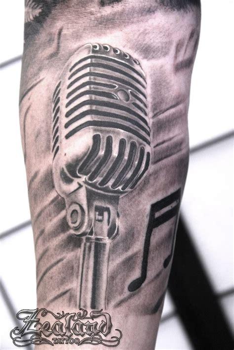 microphone stand tattoo black grey tattoo gallery zealand tattoo