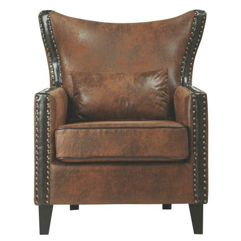 home decorators accent chairs home decorators collection meloni faux suede brown bonded