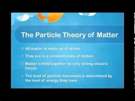 explanation of matter particle theory of matter