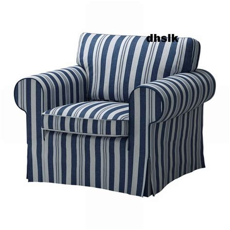 Blue And White Armchair by Ikea Ektorp Armchair Cover Chair Slipcover Abyn Blue White Stripes 197 Byn