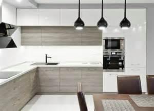 ordinary Cuisine Grise Plan De Travail Bois #2: plan-travail-cuisine-armoires-hautes-blanc-armoires-bas-bois-gris.jpg