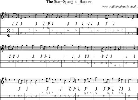 printable star spangled banner sheet music sheet music and mandolin tabs for the star spangled banner