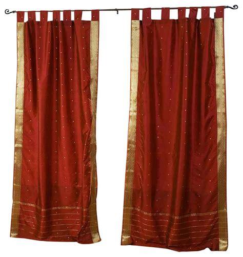 tab top cafe curtains rust tab top sheer sari cafe curtain drape panel 43w