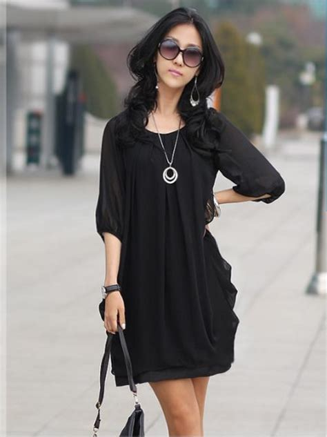 Korea Dress Shania Black Size L other s clothing ps247 696 korean style chiffon blouse medium sleeve fs size s m l
