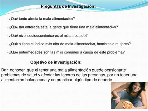 preguntas de investigacion nutricion presentacion de resultados de la mala alimentacion