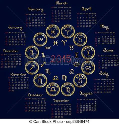 Calendrier Horoscope Illustrations Vectoris 233 Es De 2015 Calendrier Horoscope