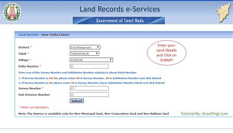 Records Property Ownership Search Patta Chitta Tamil Font
