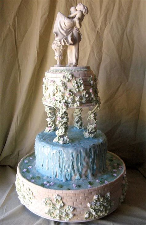 Cake Tier Cake Fontain Plastik Putih artistic three tier wedding cake design in blue and ivory decorated with a classic