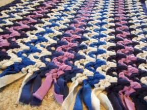 How To Make Hand Woven Rugs Hand Made Crochet Rag Rug Fleece Chevron Stripe Recycled