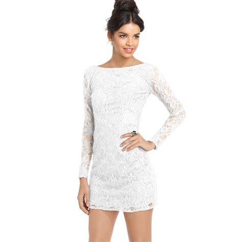 Dress Kaitlyn Mini Dress Polos Dress Choker Dress Sabrina Sn Jump Juniors Lace Sequin Mini Dress In White Lyst