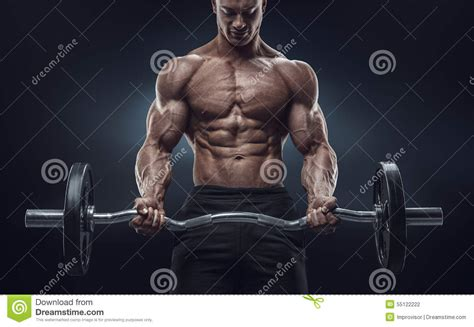 imagenes workout closeup portrait of a muscular man workout with barbell at