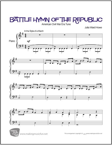 free printable sheet music the piano student battle hymn of the republic easy piano sheet music