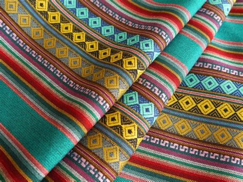 tappeti peruviani aztec fabric peruvian fabric woven cusco blue 1 yard