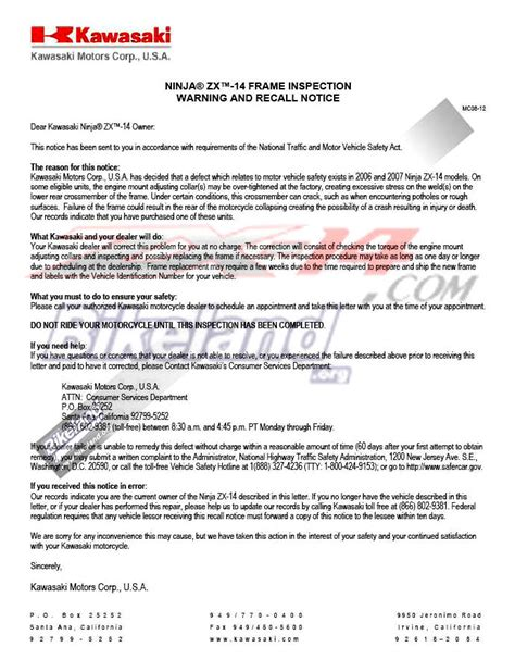 Sle Letter For Product Recall Zx14 Zzr1400 Recall