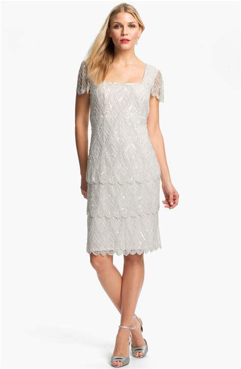 beaded mesh dress pisarro nights beaded tiered mesh dress in white ivory