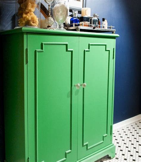 Navy blue kelly green in the bathroom home pinterest cabinets trays and tile