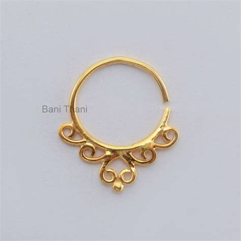 Handmade Septum Rings - handmade gold plated 925 sterling silver nose ring septum