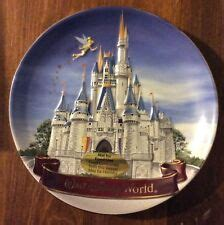 Disneyland Sleeping Castle Tinker Bell Ceramic Collectible Plate - walt disney world 4 commemorative plate features castle