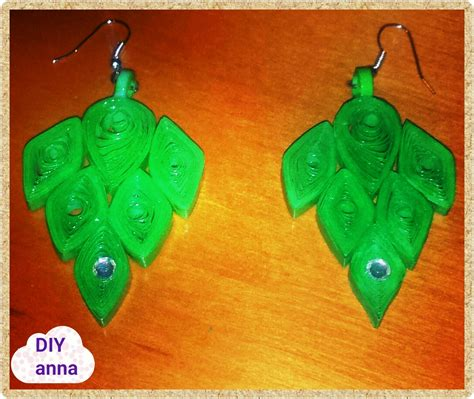 Green Craft Paper - green paper quilling earrings ideas diy craft tutorial