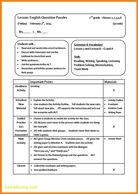 best lesson plan template new sle lesson plan template best templates