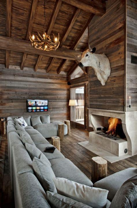 comfy  natural chalet living room designs interior god
