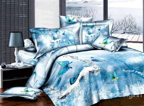 New Arrival 100 Cotton 3d Ice Blue Butterfly 4 Piece Bedding Set 3d
