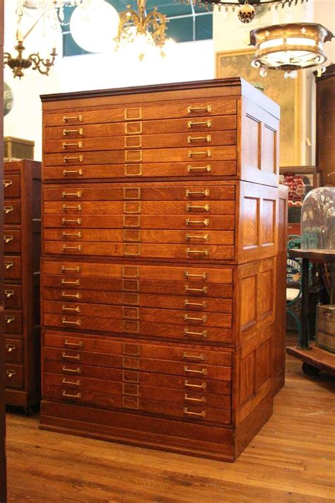 Antique Map Cabinet by 20 Drawer Tiger Oak Map Cabinet Or Flat File With Original
