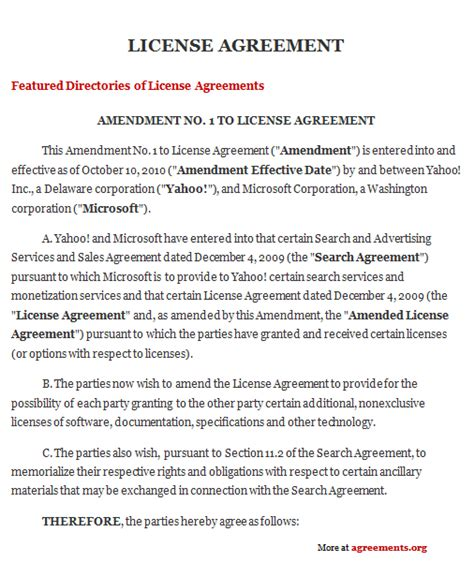 licensing contract template license agreement sle license agreement template