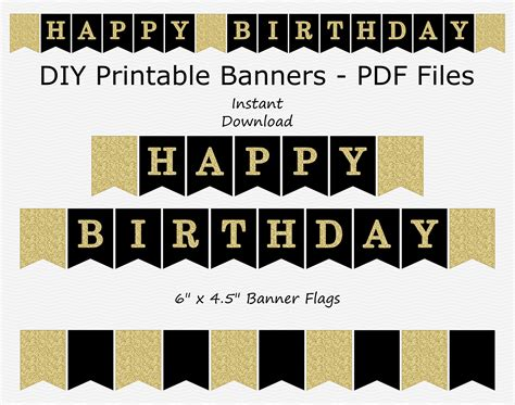 printable happy birthday banner black and white happy birthday banner black gold glitter printable