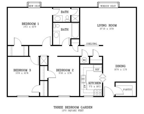 standard living room size courtyard 3 br floor plan jpg