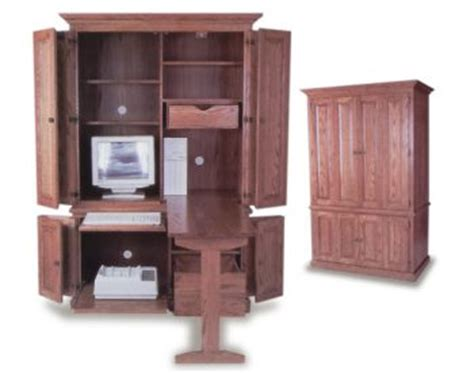 Computer Armoire With Fold Out Desk Amish Built Deluxe Computer Armoire Amish Office Furniture Sugar Plum Oak Amish Furniture In