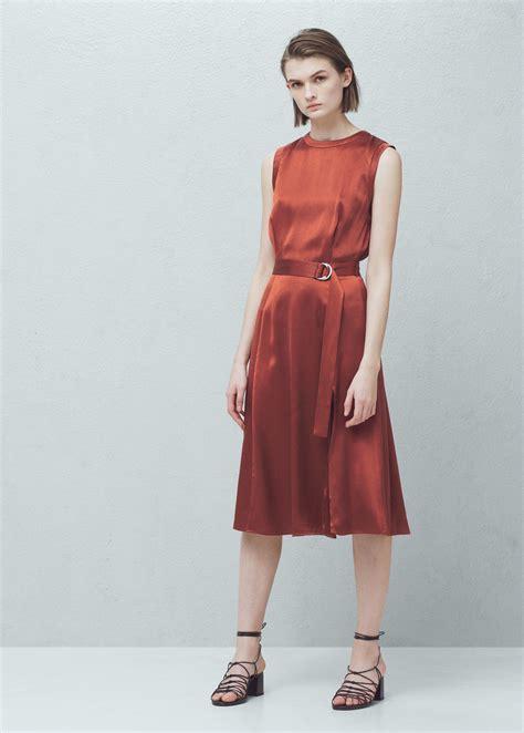 Manggo Dress lyst mango belt satin dress in orange