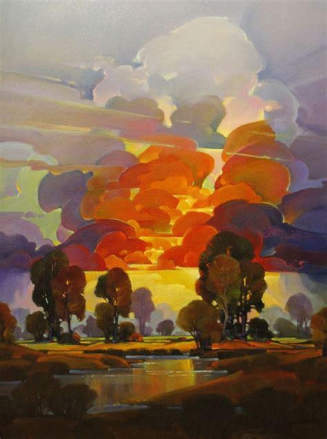 contemporary painting flaming dusk  original art