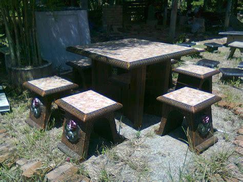 Meja Batu set meja batu rantau panjang