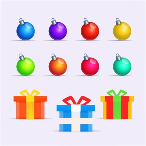 Colorful Baubles by Collection Of Colorful Baubles And Gifts Vector Free