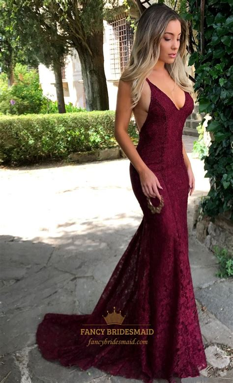 burgundy  neck sleeveless open  lace overlay prom