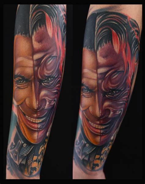 batman mask tattoo on face tommy lee jones batman color portrait by mike demasi