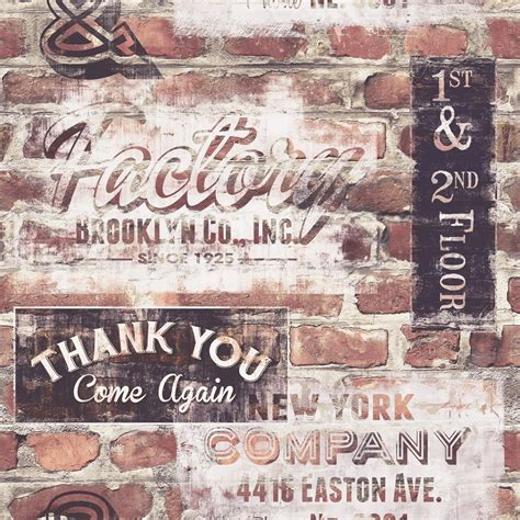Rainbow Wall Murals rasch portfolio new york terracotta red brick retro