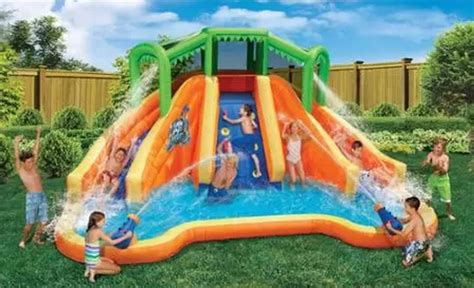 backyard water slide and pool outdoor