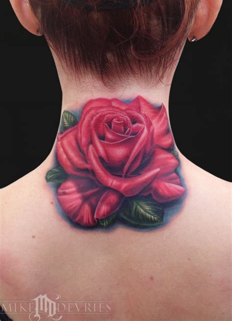 rose tattoo on neck meaning rose tattoo by mike devries tattoos