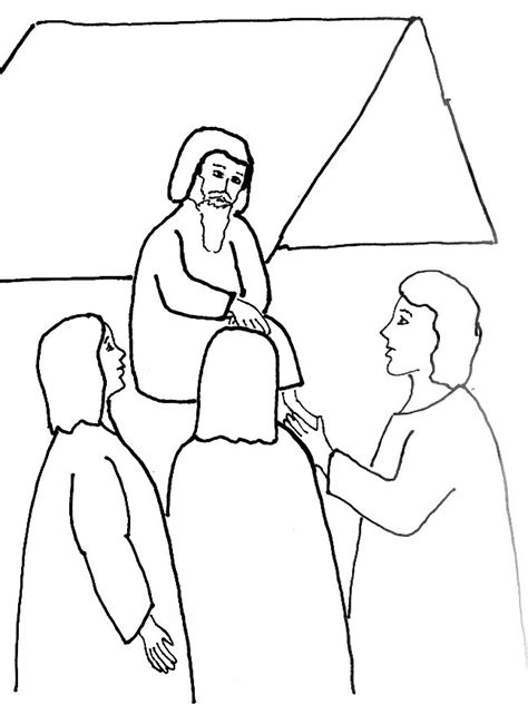 Angels Visit Abraham Coloring Page | bible story coloring page for angels visit abraham free