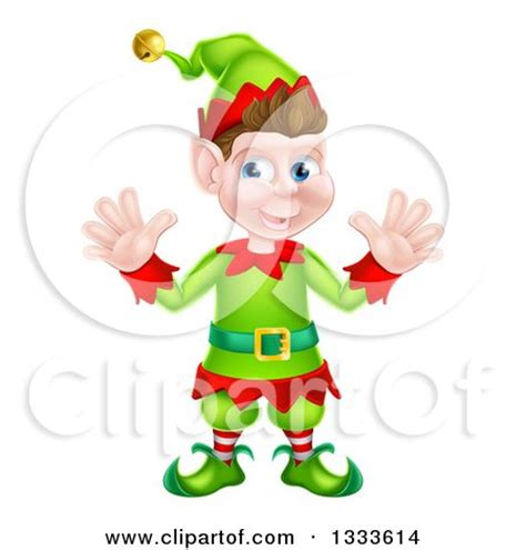 printable elf hands clipart of a cartoon happy male christmas elf giving a