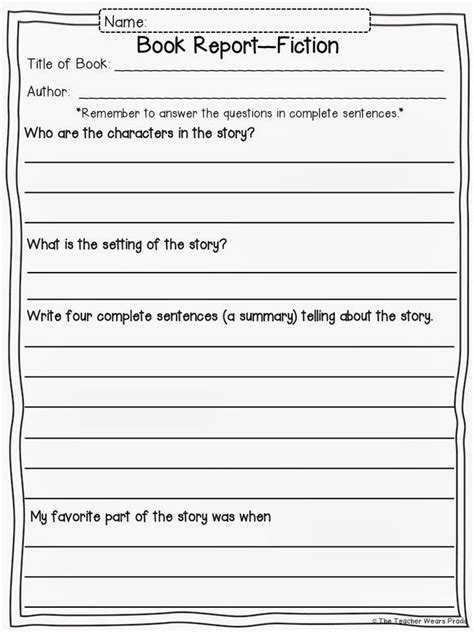 fiction book report form book report format for fourth graders writing a book