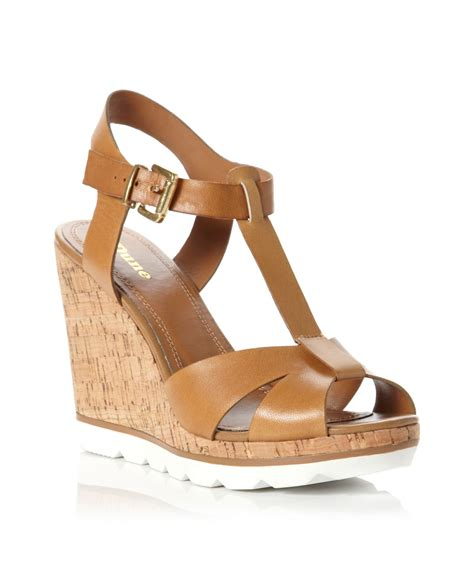 dune giraffe tbar wedge shoes in brown lyst