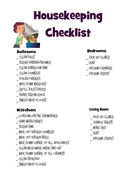 bedroom cleaning checklist housekeeping checklist living rooms housekeeping and