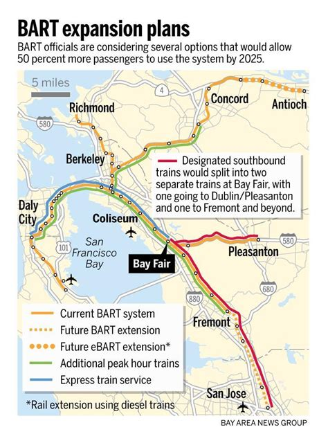 california map extensions bart expansion plans express trains more frequent