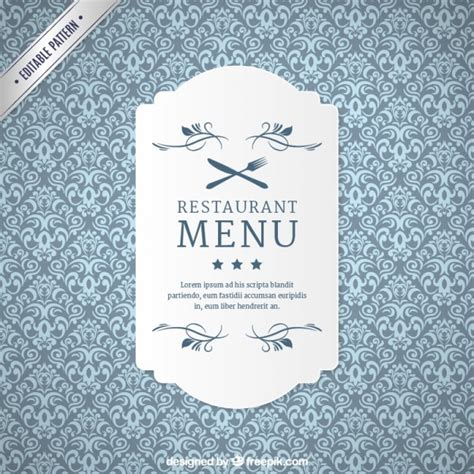 pattern label ornamental restaurant pattern with label vector free