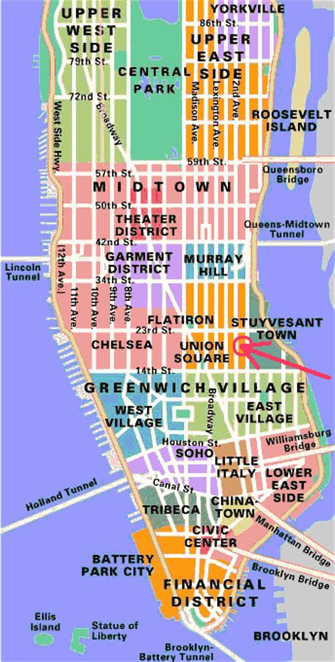 manhattan sections map neighborhoods of manhattan