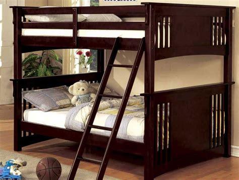 full  full bunk bed mission rustic solid wood dark walnut